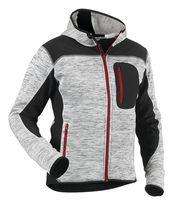 Veste tricotée fashion à capuche gris / noir