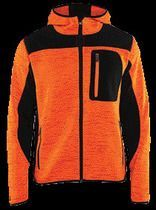 Veste tricotée fashion à capuche Orange / noir