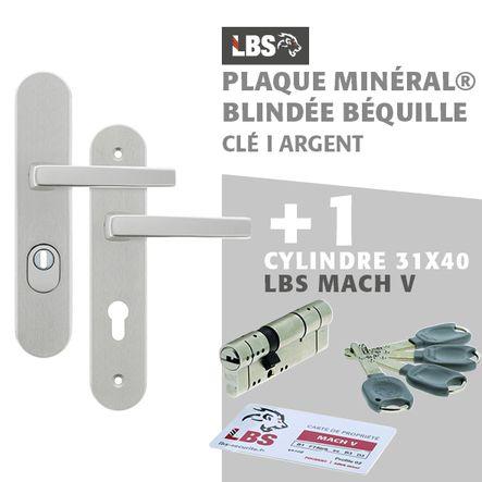 Lot ensemble sur plaque MINERAL blindée béquille clé I argent + cylindre MACH V 31x40