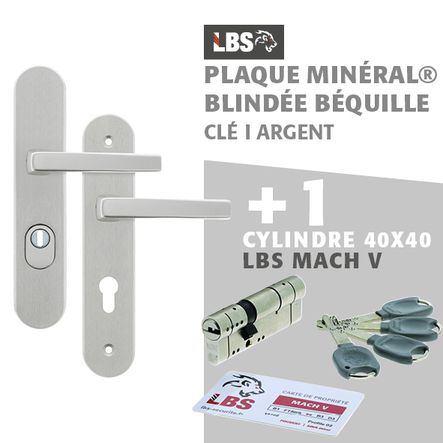 Lot ensemble sur plaque MINERAL blindée béquille clé I argent + cylindre MACH V 40x40
